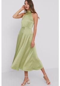 Samsoe & Samsoe - Samsoe Samsoe - Sukienka. Okazja: na co dzień. Typ kołnierza: dekolt halter. Kolor: zielony. Materiał: tkanina. Wzór: gładki. Typ sukienki: proste. Styl: casual