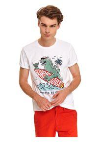 TOP SECRET - T-shirt wakacyjny z nadrukiem. Kolor: biały. Materiał: tkanina, bawełna. Długość rękawa: krótki rękaw. Długość: krótkie. Wzór: nadruk. Sezon: lato. Styl: wakacyjny