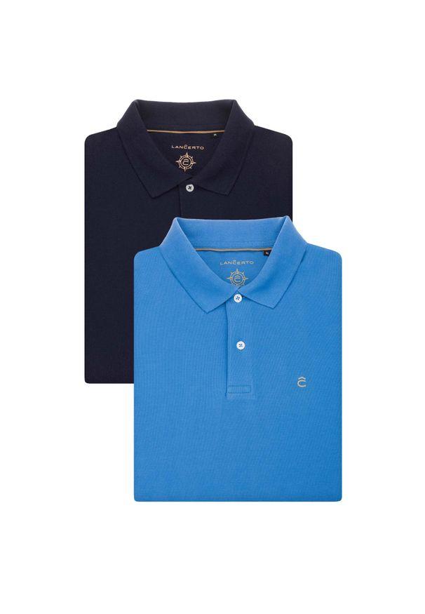 Lancerto - Zestaw 2 Koszulek Polo. Okazja: na urodziny, na co dzień. Typ kołnierza: polo. Materiał: bawełna, tkanina. Wzór: ze splotem, gładki. Styl: klasyczny, casual