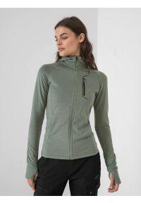 4f - Bluza trekkingowa rozpinana z kapturem damska. Typ kołnierza: kaptur. Kolor: zielony. Materiał: włókno, dzianina. Długość rękawa: raglanowy rękaw