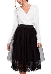 Makover - Rozkloszowana tiulowa dwuwarstwowa spódnica z koronką. Materiał: tiul, koronka. Wzór: koronka. Styl: elegancki