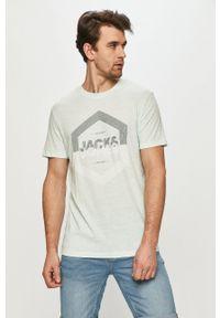 Jack & Jones - T-shirt. Okazja: na co dzień. Kolor: turkusowy. Materiał: dzianina. Wzór: nadruk. Styl: casual
