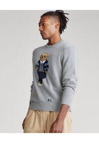 Ralph Lauren - RALPH LAUREN - Szary sweter z misiem Polo. Typ kołnierza: polo. Kolor: szary. Materiał: dzianina, bawełna