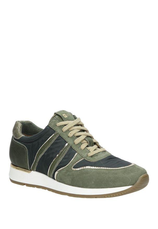 Nessi - zielone buty sportowe skórzane nessi 17214. Kolor: zielony. Materiał: skóra. Szerokość cholewki: normalna