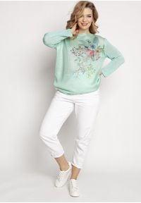 MKM - Lekki Sweter z Kwiatowym Nadrukiem - Miętowy. Kolor: miętowy. Materiał: akryl. Wzór: nadruk, kwiaty
