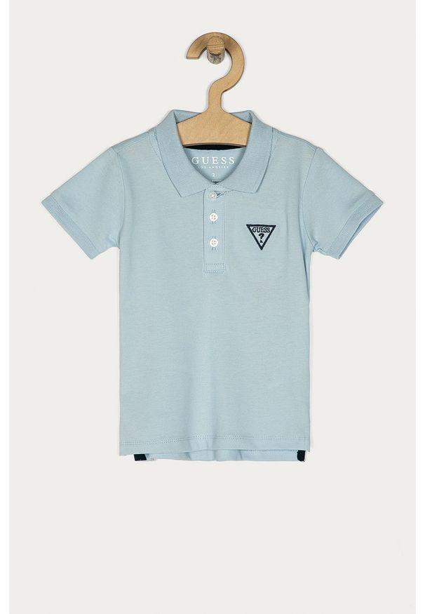 Niebieski t-shirt polo Guess Jeans polo, na co dzień, casualowy