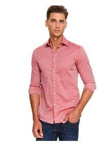 Różowa koszula TOP SECRET w kolorowe wzory, długa, na co dzień