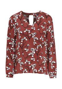 Brązowa bluzka Happy Holly w kolorowe wzory, casualowa, z długim rękawem