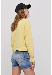 only - Only - Bluza. Kolor: żółty. Materiał: dzianina, bawełna. Długość rękawa: długi rękaw. Długość: długie. Wzór: nadruk
