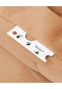 OFF-WHITE - Wełniany płaszcz w kolorze nude. Kolor: beżowy. Materiał: wełna. Wzór: aplikacja. Styl: elegancki, sportowy