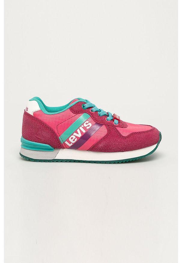 Różowe buty sportowe Levi's® na sznurówki, w kolorowe wzory, na spotkanie biznesowe, z okrągłym noskiem