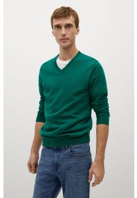 Zielony sweter Mango Man casualowy, z długim rękawem, długi, na co dzień