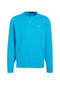 Ralph Lauren - RALPH LAUREN - Niebieska bluza bez kaptura Regular Fit. Typ kołnierza: bez kaptura. Kolor: niebieski. Materiał: tkanina. Długość rękawa: długi rękaw. Długość: długie. Wzór: haft