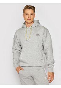 Adidas - adidas Bluza M Street Q1 Hd GM6504 Szary Relaxed Fit. Kolor: szary. Styl: street