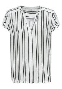 Bluzka z krótkim rękawem bonprix biało-czarny w paski. Kolor: biały. Długość rękawa: krótki rękaw. Długość: krótkie. Wzór: paski