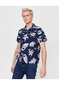 Ralph Lauren - RALPH LAUREN - Niebieska koszula Custom Fit. Typ kołnierza: polo. Kolor: niebieski. Materiał: jeans, bawełna. Wzór: haft, nadruk