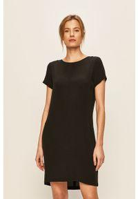 Czarna sukienka Vila prosta, mini, z krótkim rękawem