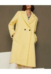 Marella - MARELLA - Żółty płaszcz Nicchia. Okazja: na co dzień. Kolor: żółty. Materiał: tkanina, materiał. Długość rękawa: długi rękaw. Długość: długie. Wzór: ze splotem. Sezon: wiosna. Styl: klasyczny, elegancki, casual