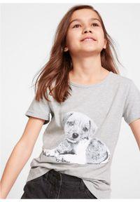 T-shirt dziewczęcy z bawełny organicznej bonprix jasnoszary melanż z nadrukiem. Kolor: szary. Materiał: bawełna. Wzór: melanż, nadruk