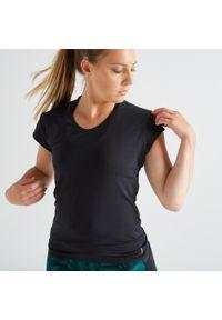 DOMYOS - Koszulka fitness Domyos FTS 100 slim. Materiał: poliester, materiał, elastan. Długość rękawa: krótki rękaw. Długość: krótkie. Sport: fitness