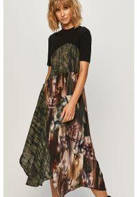 Wielokolorowa sukienka Desigual prosta, z okrągłym kołnierzem, na co dzień