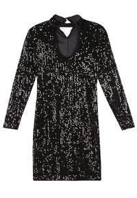 TROLL - Sukienka damska z cekinami. Okazja: na imprezę. Kolor: czarny. Materiał: materiał. Długość rękawa: krótki rękaw. Sezon: jesień, zima. Styl: elegancki