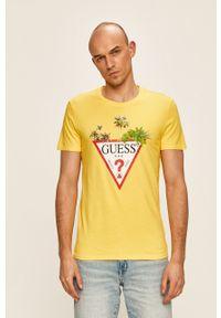 Żółty t-shirt Guess Jeans z nadrukiem, casualowy, na co dzień