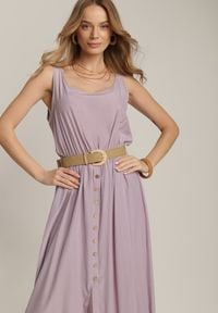 Renee - Liliowa Sukienka Loraeshell. Kolor: fioletowy. Długość rękawa: na ramiączkach. Długość: maxi