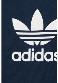 Niebieska bluza nierozpinana adidas Originals z kapturem, z aplikacjami