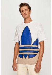 Wielokolorowy t-shirt adidas Originals z nadrukiem, na co dzień, z okrągłym kołnierzem