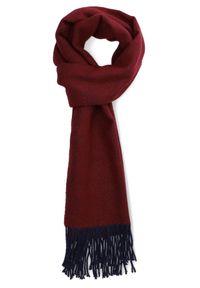 Lancerto - Szal Czerwony. Kolor: czerwony. Materiał: wełna. Wzór: prążki. Sezon: jesień, zima