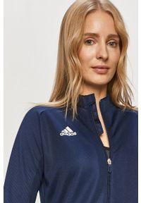 Niebieska bluza rozpinana adidas Performance na co dzień, bez kaptura
