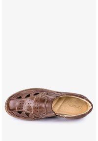 Wasak - Brązowe półbuty ażurowe polska skóra wasak 0179. Kolor: brązowy. Materiał: skóra. Wzór: ażurowy