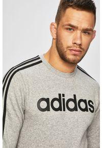 Szara bluza nierozpinana Adidas bez kaptura, gładkie