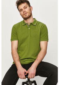 Zielona koszulka polo Geox krótka, gładkie, casualowa, na co dzień