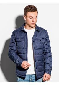 Niebieska kurtka Ombre Clothing elegancka, na wiosnę