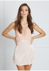 Saintmiss - Koszula nocna z koronką // Liliane - M, Różowy. Kolor: różowy. Materiał: koronka. Długość: krótkie. Wzór: koronka