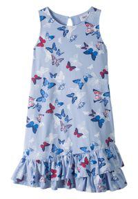 Sukienka z falbanami bonprix perłowy niebieski z nadrukiem. Kolor: niebieski. Wzór: nadruk