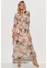 Makadamia - Wzorzysta Maxi Sukienka z Dekoracyjnym Dekoltem V - Szyfon 2. Materiał: szyfon. Wzór: kropki, kwiaty. Długość: maxi