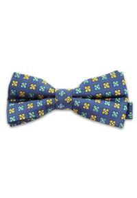 Vernon - Niebieska Mucha w Kolorowe Kwiatki, Kwiaty, Męska. Kolor: niebieski. Wzór: kwiaty. Styl: sportowy, elegancki