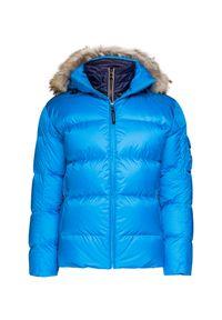 Niebieska kurtka narciarska Bogner z kontrastowym kołnierzykiem, z aplikacjami