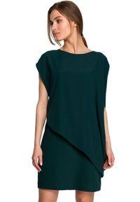 Style - Prosta sukienka warstwowa z asymetryczną falbaną zielona. Kolor: zielony. Materiał: tkanina, elastan. Typ sukienki: proste, asymetryczne