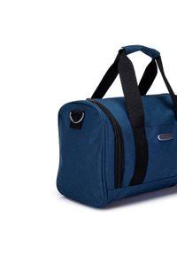 Niebieska torba podróżna Wittchen z haftami, casualowa