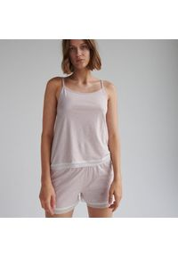 Reserved - Dwuczęściowa piżama z koronką - Brązowy. Kolor: brązowy. Materiał: koronka. Wzór: koronka