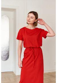 Marie Zélie - Sukienka Elwina czerwona. Okazja: na co dzień. Kolor: czerwony. Materiał: bawełna, dzianina, materiał, elastan, tkanina, guma. Długość rękawa: krótki rękaw. Typ sukienki: proste. Styl: casual