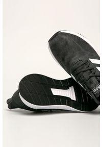 Szare buty sportowe Adidas na sznurówki, z cholewką, z okrągłym noskiem
