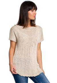 Beżowy sweter oversize MOE z aplikacjami, krótki, z krótkim rękawem