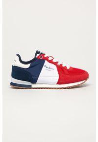 Czerwone buty sportowe Pepe Jeans na sznurówki, z cholewką, z okrągłym noskiem