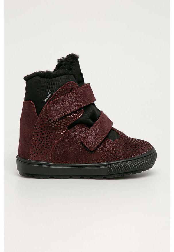 Brązowe buty zimowe Mrugała z cholewką, z okrągłym noskiem, na zimę, na rzepy
