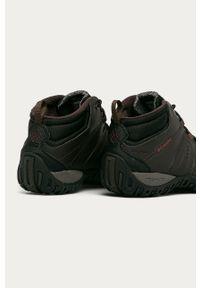 Brązowe buty trekkingowe columbia na zimę, na sznurówki, z cholewką